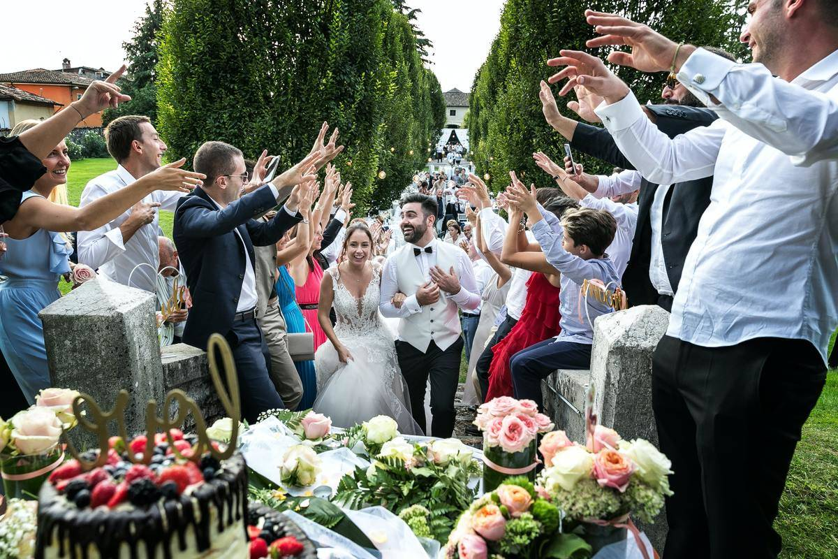 wedding party celebration with multiple people