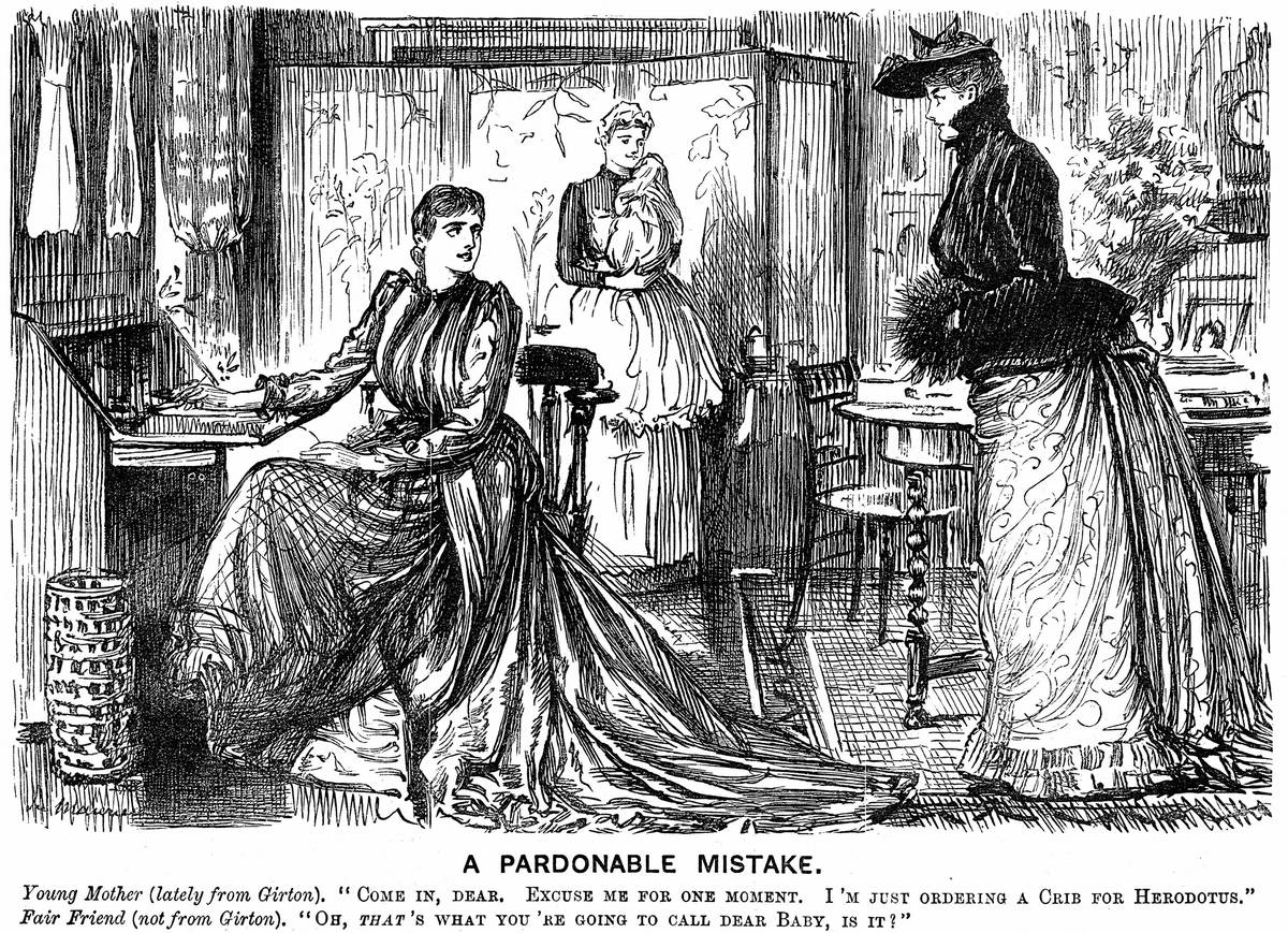 University education for women making their conversation confusing for their less-educated friends. George du Maurier cartoon from Punch London 7 December 1889