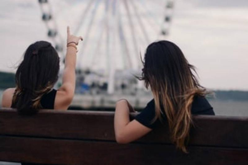 two women sitting on a bench as one points at the ferris wheel