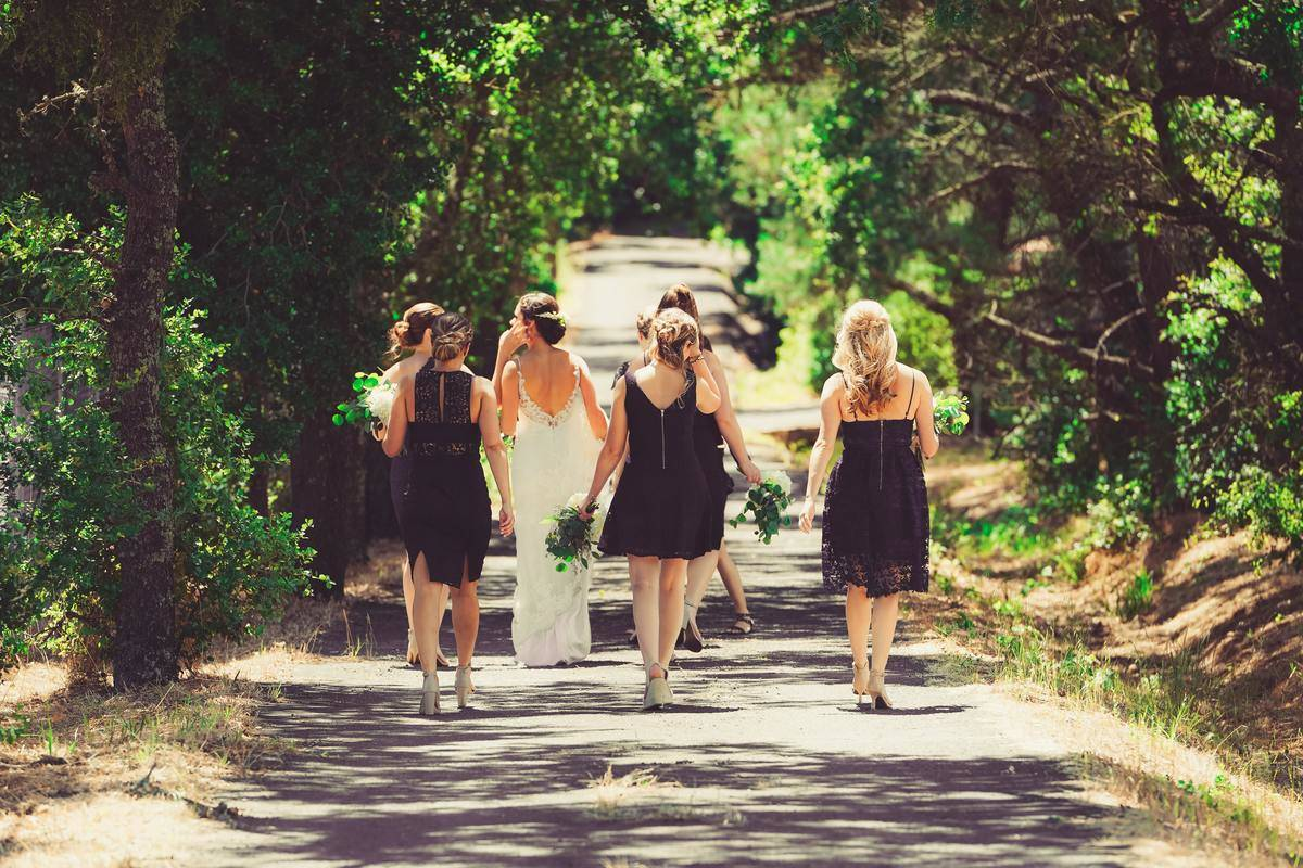 Bride and bridemaids walking into forest park