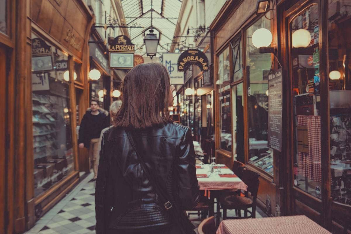 Woman at restaurant walking