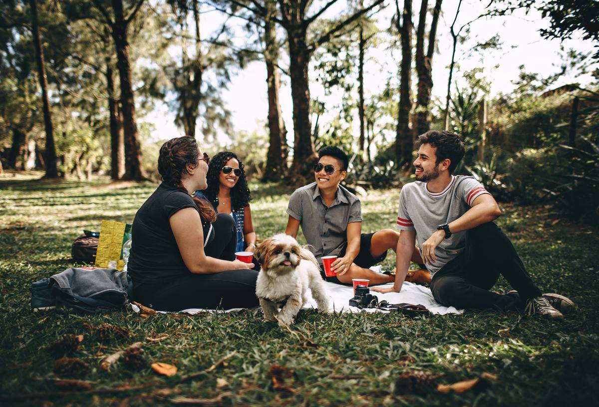 group of friends with dog in park