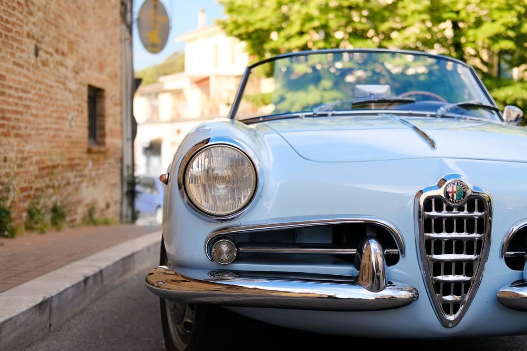 close up shot of retro blue car