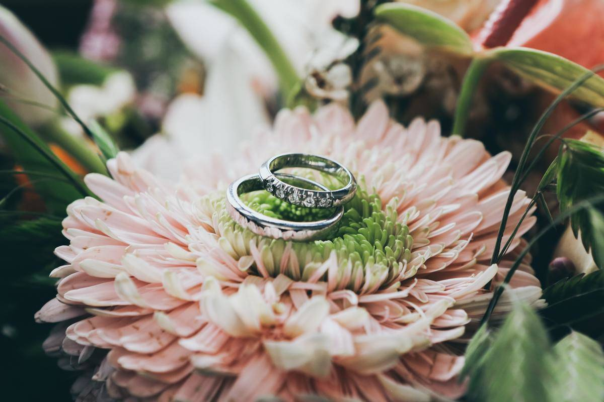 wedding bands and flowers closeup