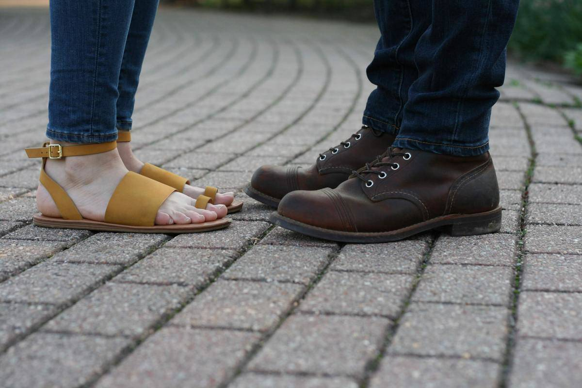 A couple with their feet pointed towards each other