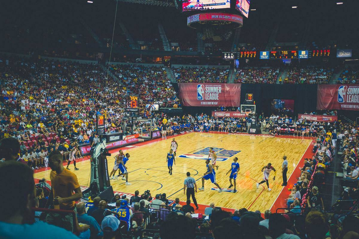 Basket ball game in arena