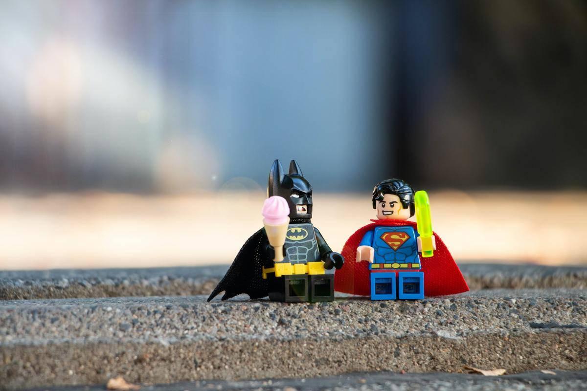 A Lego Batman and Superman hang out