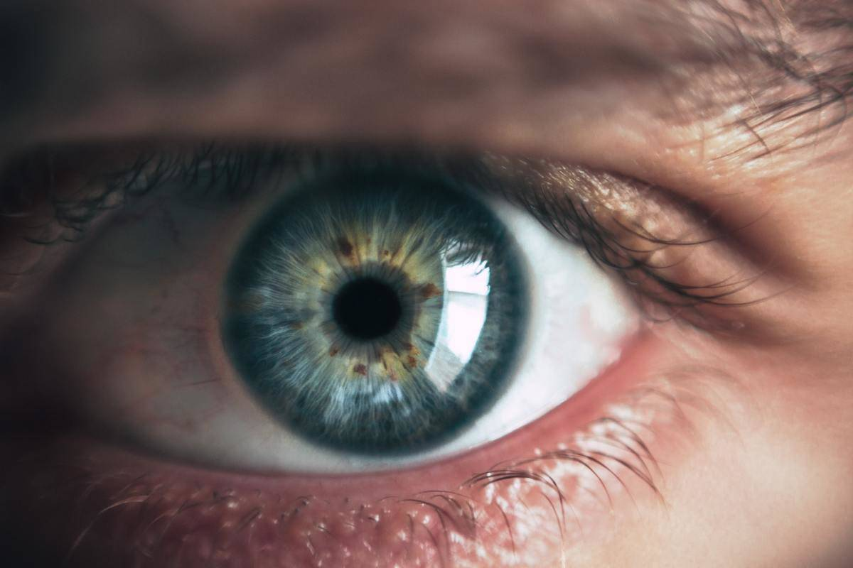Close up image of someone with blue eyes