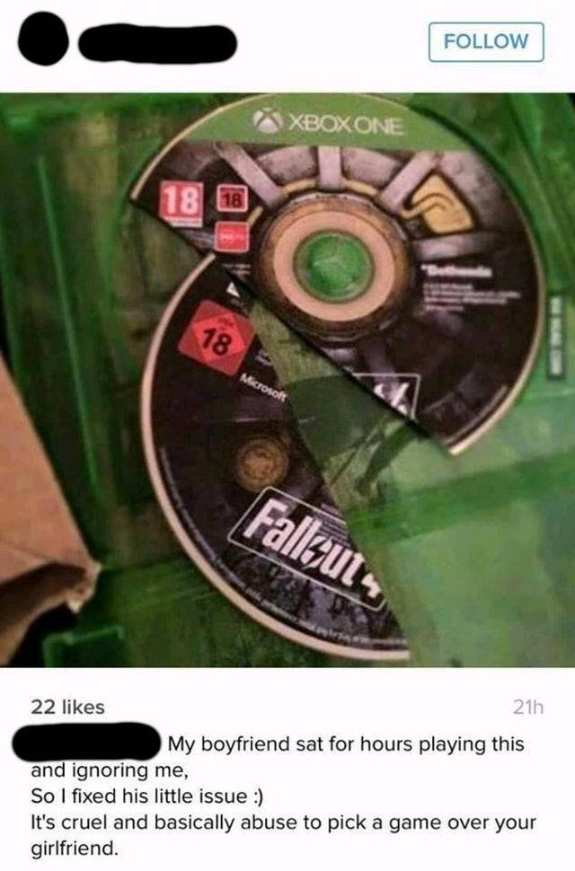 Woman broke Xbox game in half with caption