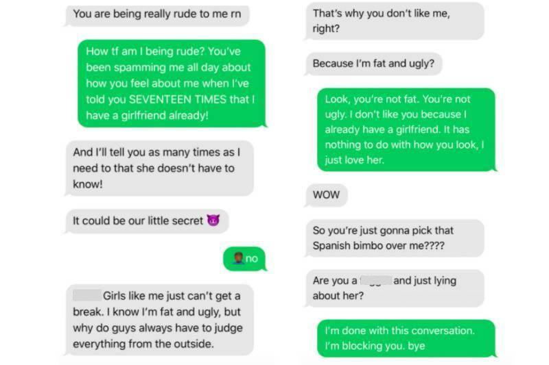 Screenshots of text exchange between girl trying to pursue guy who says he has a girlfriend