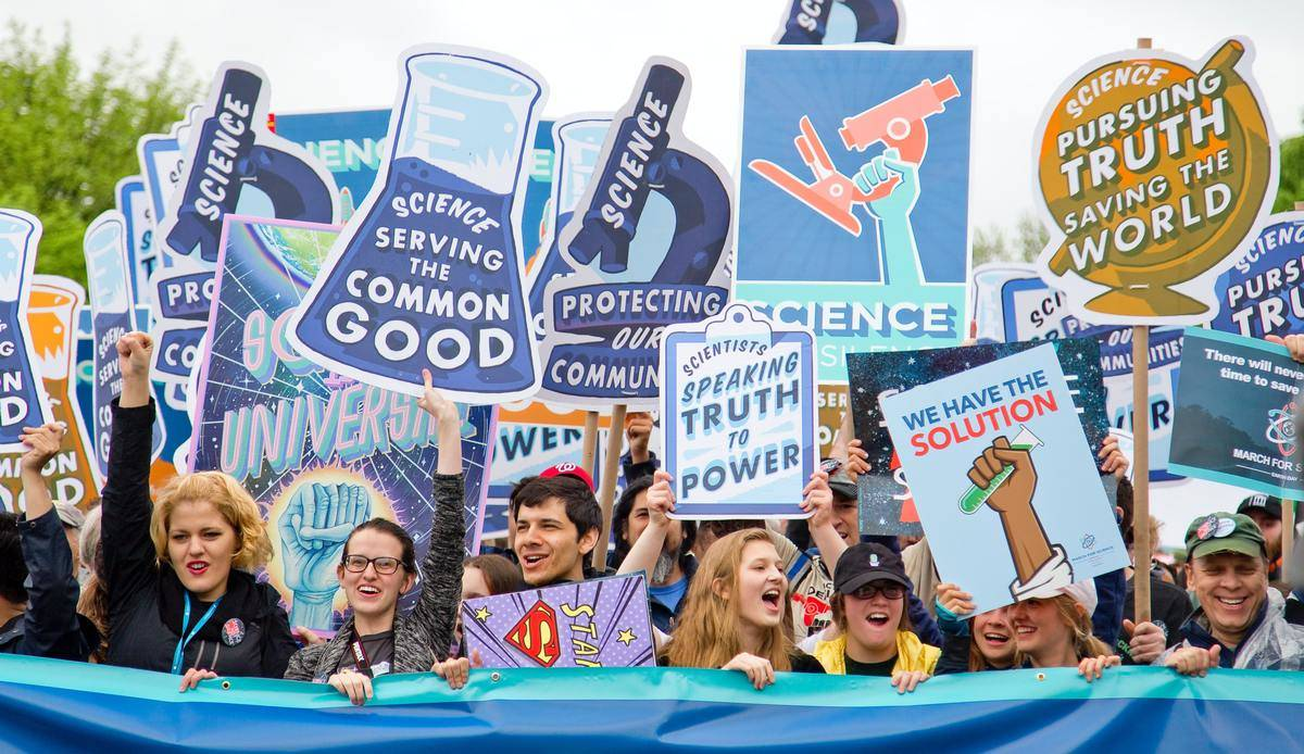 Demonstrators at a pro-science rally