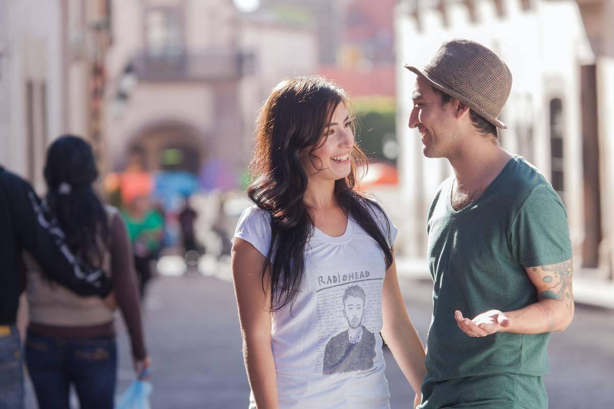 couple talking on the street