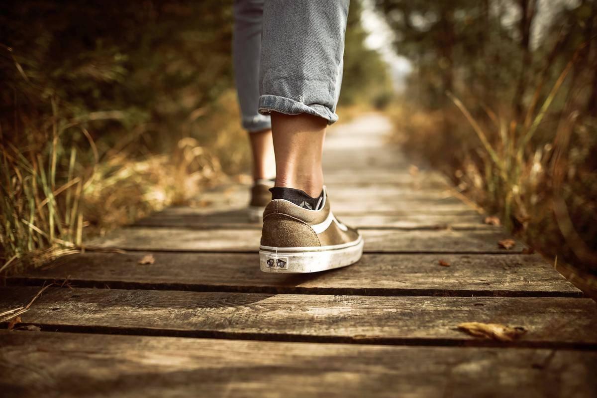 feet walking in shoes