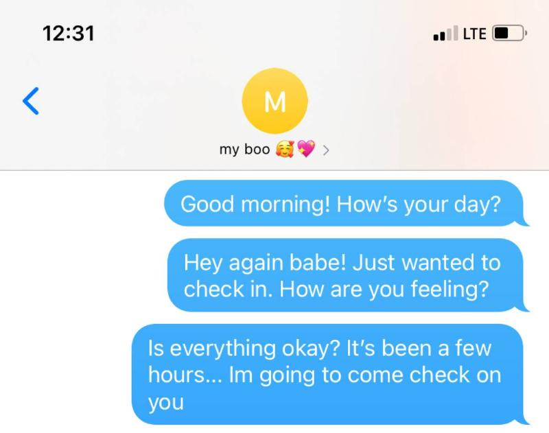 woman sending morning texts to her boyfriend and being concerned when he doesn't respond