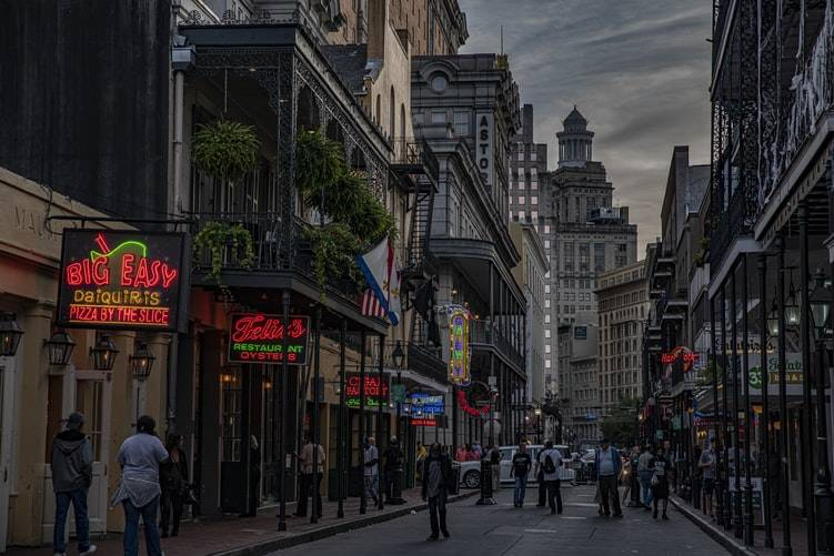 photo of a packed street in New Orleans in the evening