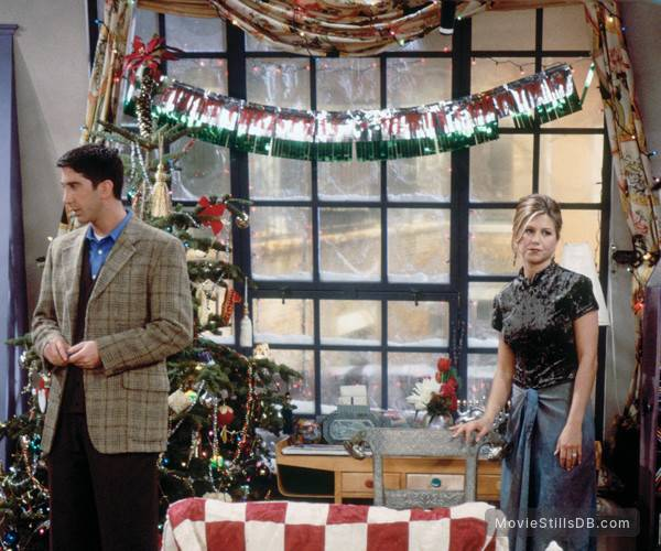Ross and Rachel at a christmas party