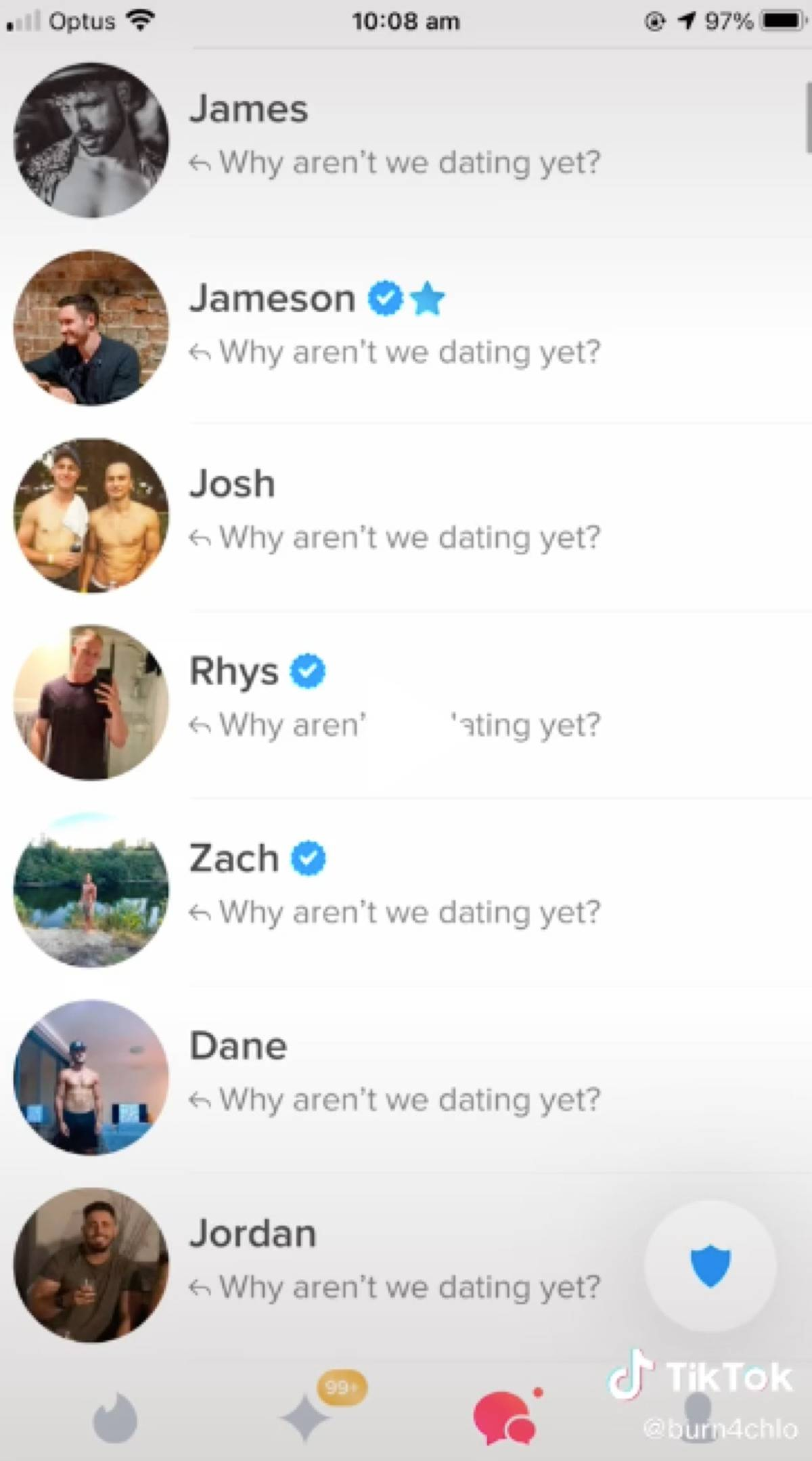 Screenshot of Chloe's Tinder matches, all showing her sent message