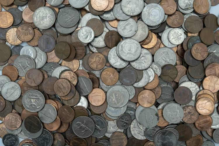 top shot of coins