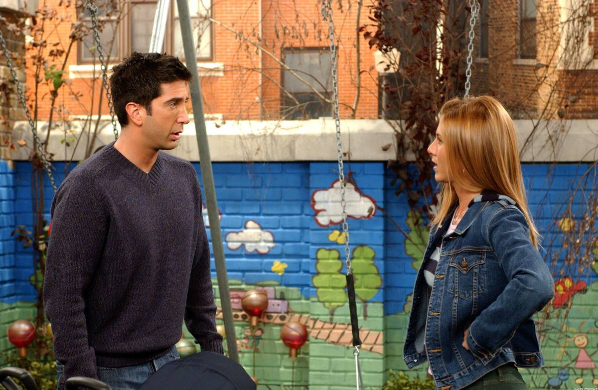 Ross and Rachel from Friends staring at one another