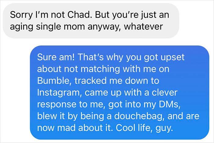 she tells him he's a douchebag