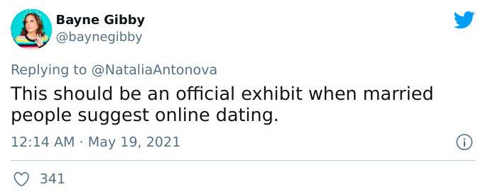 this should in an exhibit when married people suggest online dating