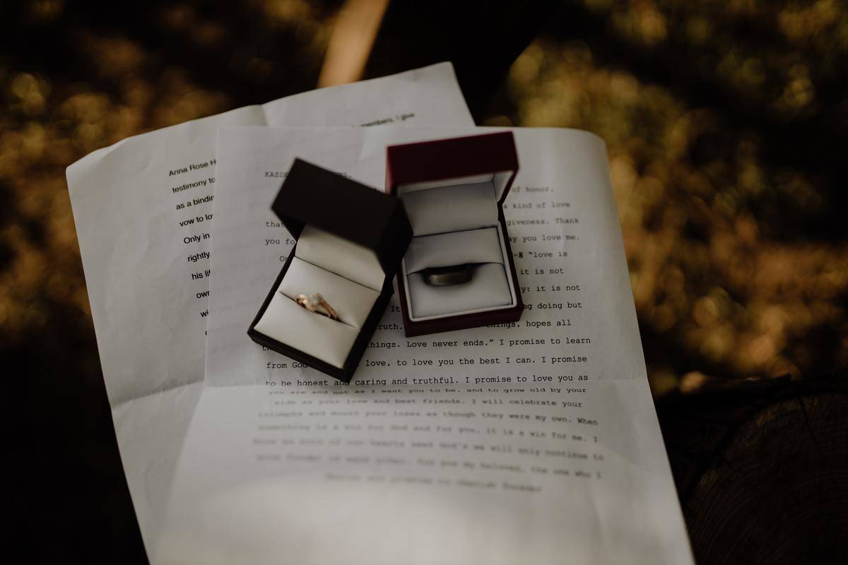 wedding bands in their boxes on written vows