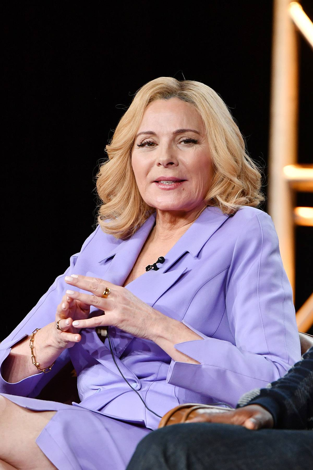 PASADENA, CALIFORNIA - JANUARY 07: Kim Cattrall of 'Filthy Rich' speaks during the Fox segment of the 2020 Winter TCA Press Tour at The Langham Huntington, Pasadena on January 07, 2020 in Pasadena, California.