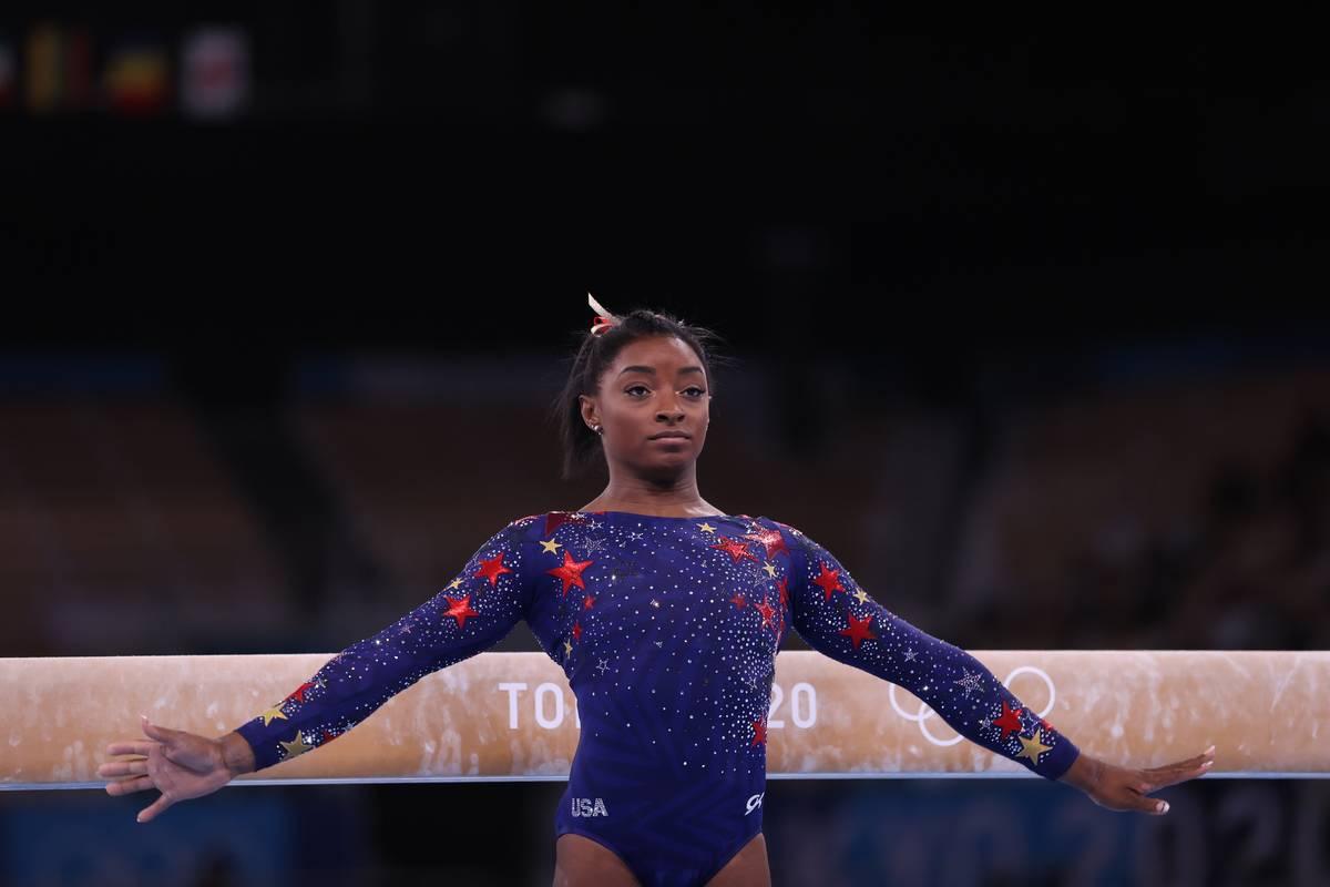 Gymnast Simone Biles at the 2020 Tokyo Olympics