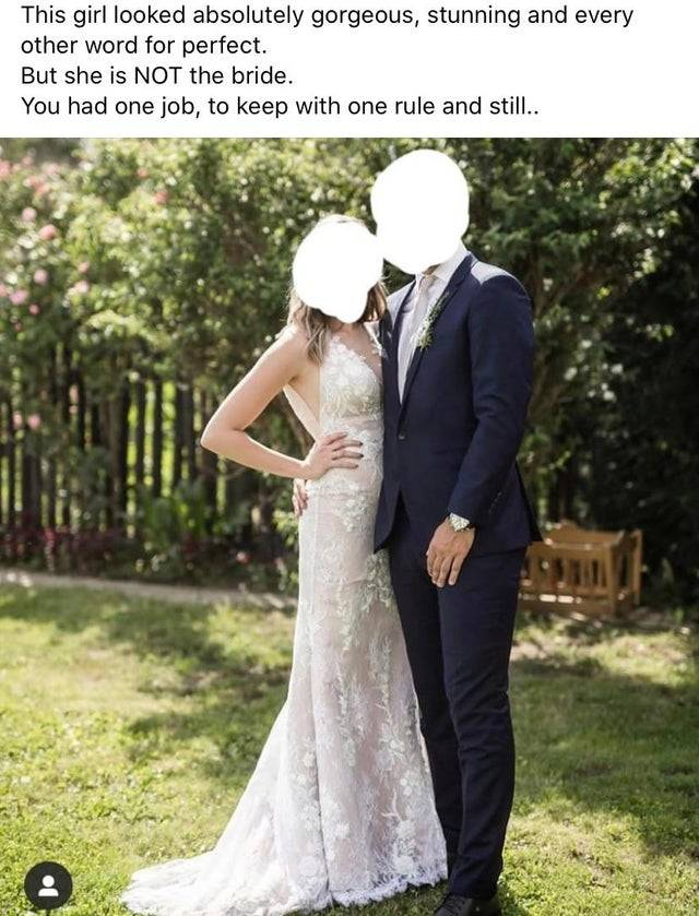 Reddit post of wedding guest wearing a white wedding gown to someone else's wedding captioned: