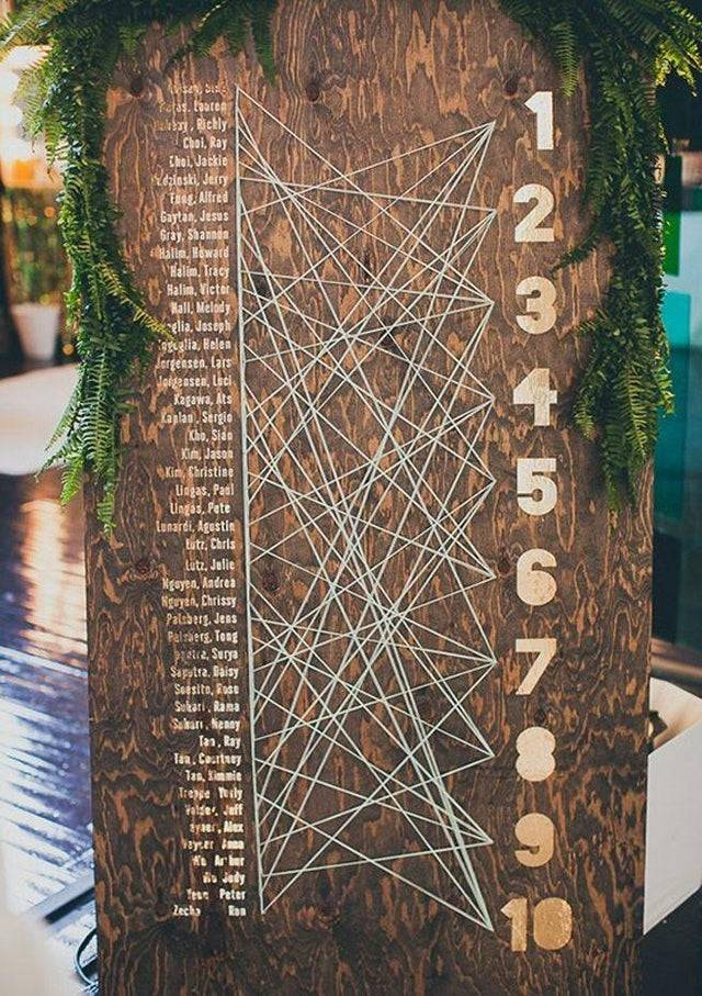 Confusing wedding seating chart made of wood with strings that lead from guests' names to table numbers