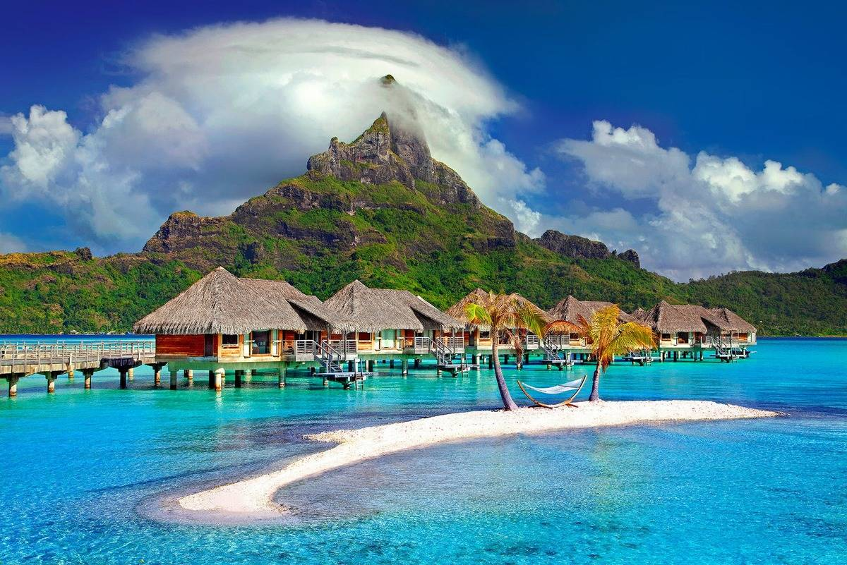 island vacation huts on water