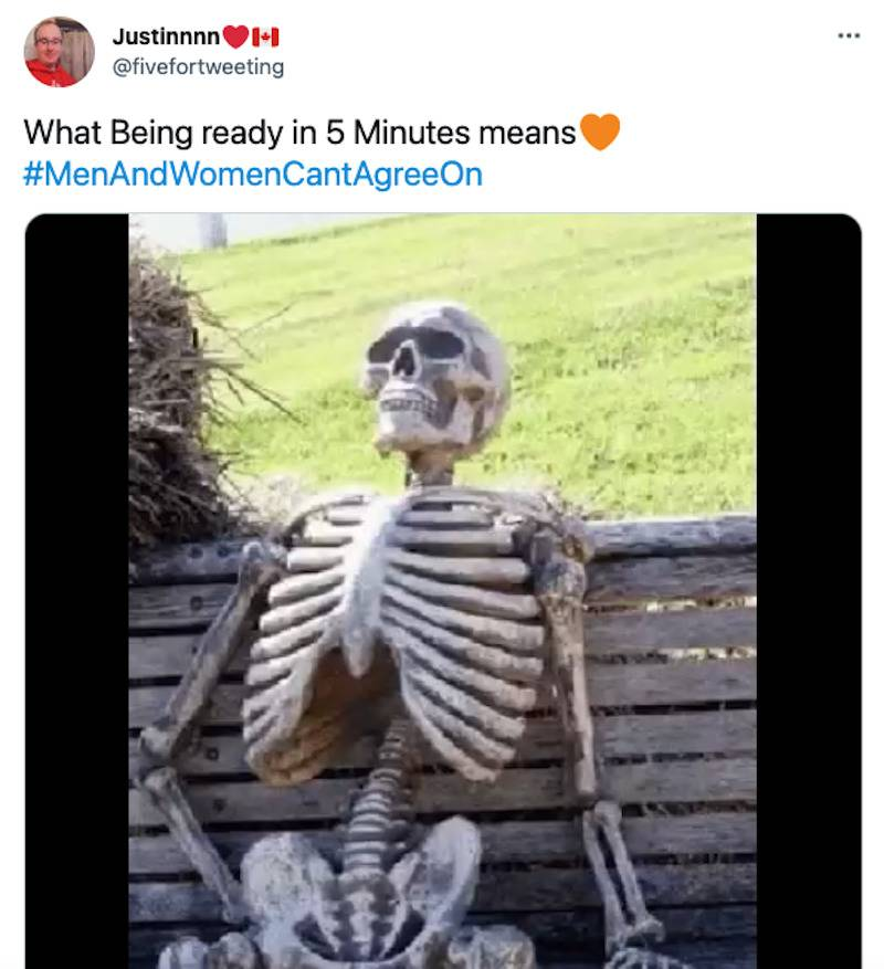 Tweet with image of skeleton sitting on a bench captioned
