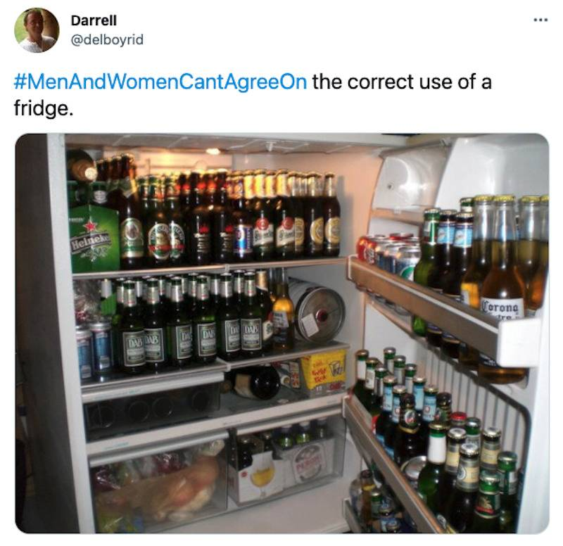 Tweet with an image of a fridge full of beer captioned: