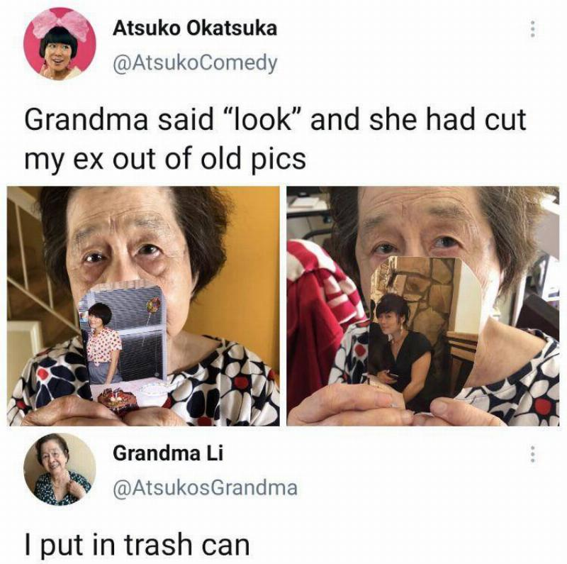 Tweet with image of elderly woman holding up a photo, caption: