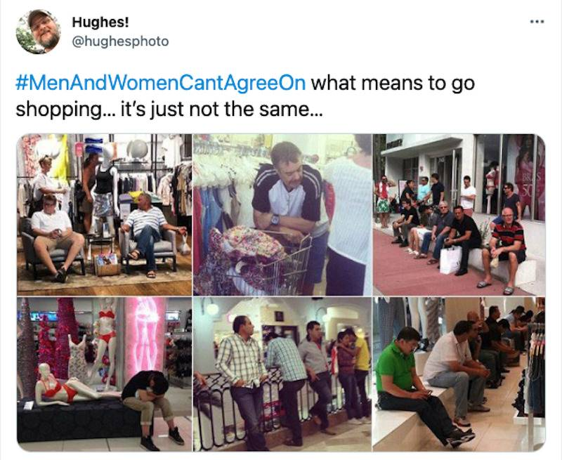 Tweet with a bunch of images of men sitting in clothing stores captioned