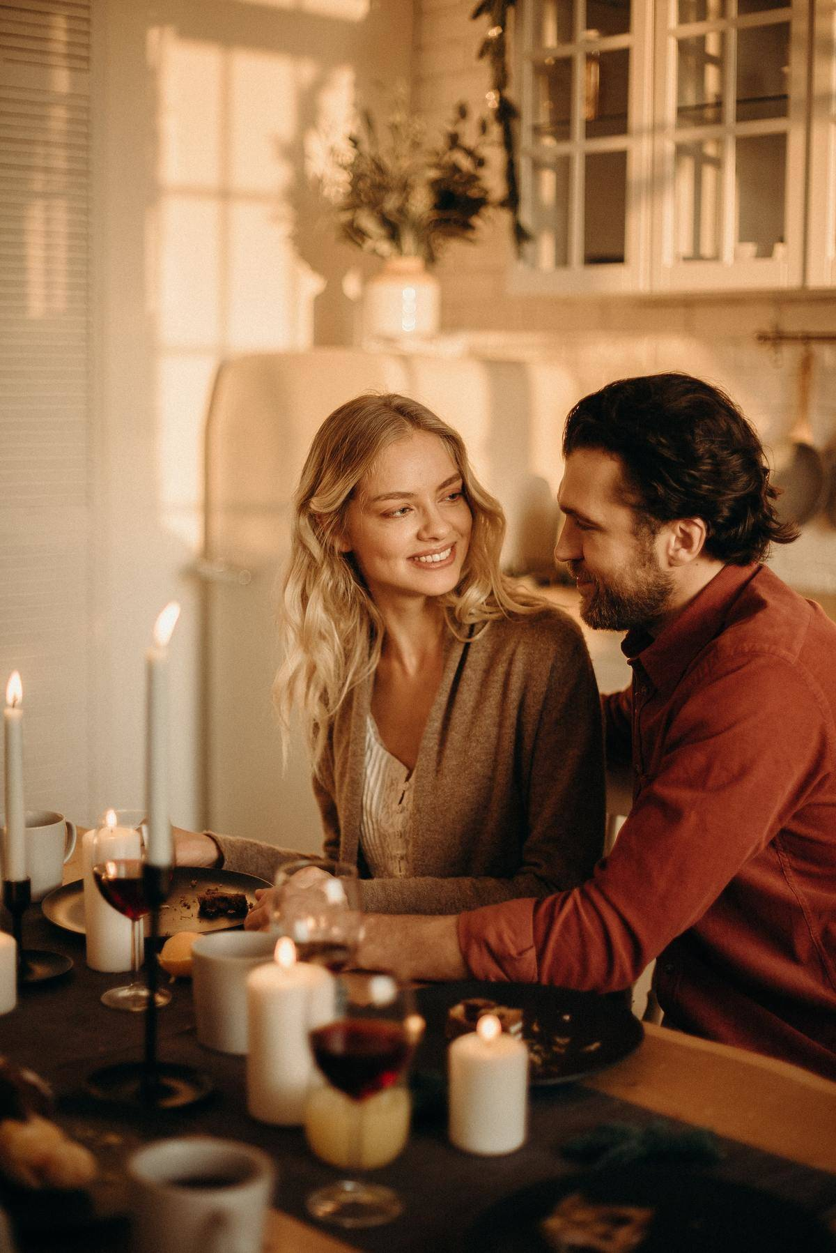 woman and man on a date at home