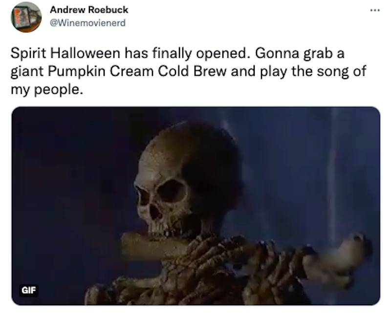 Tweet of a skeleton playing music using a bone and a quote that says