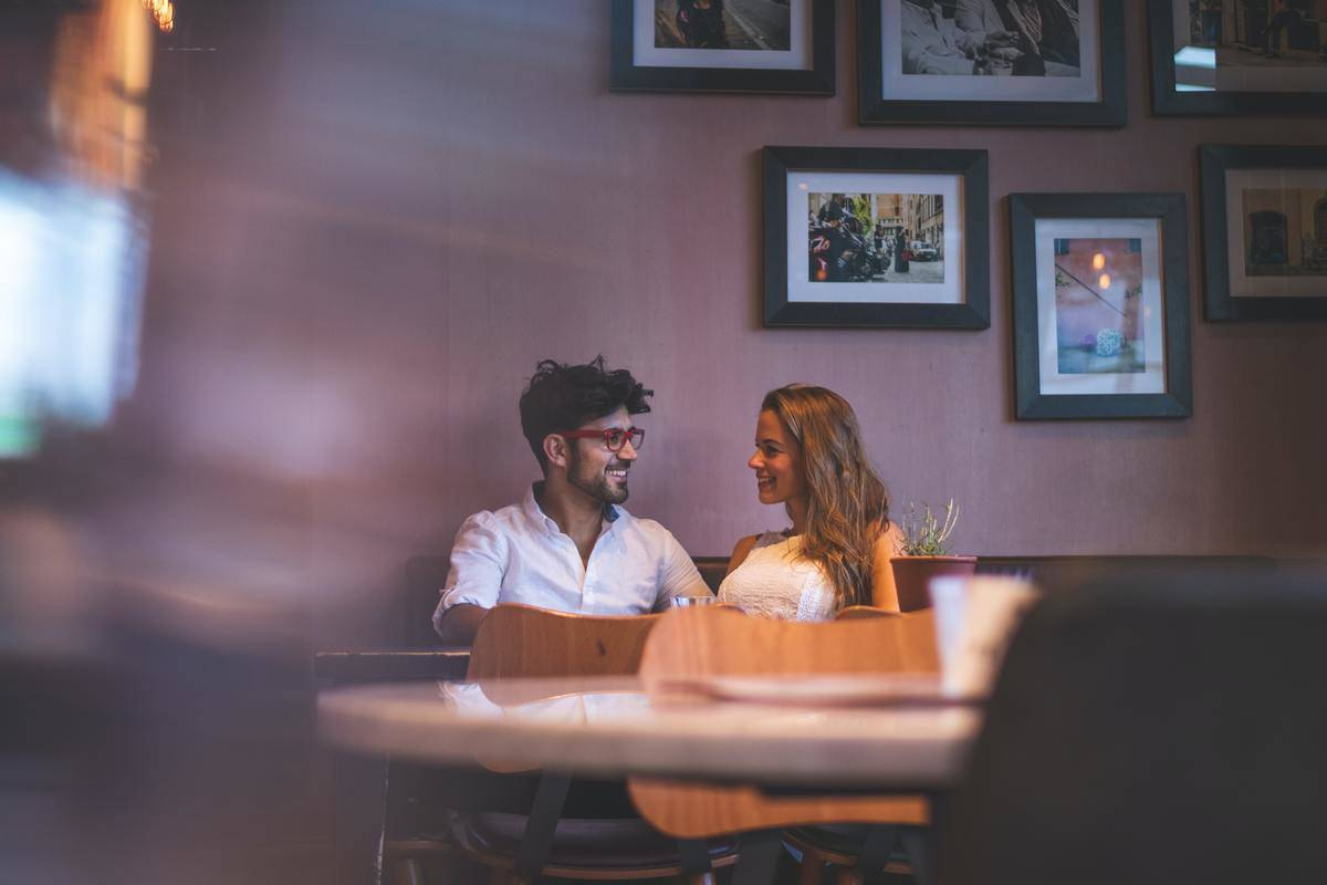 Couple at table in restaurant