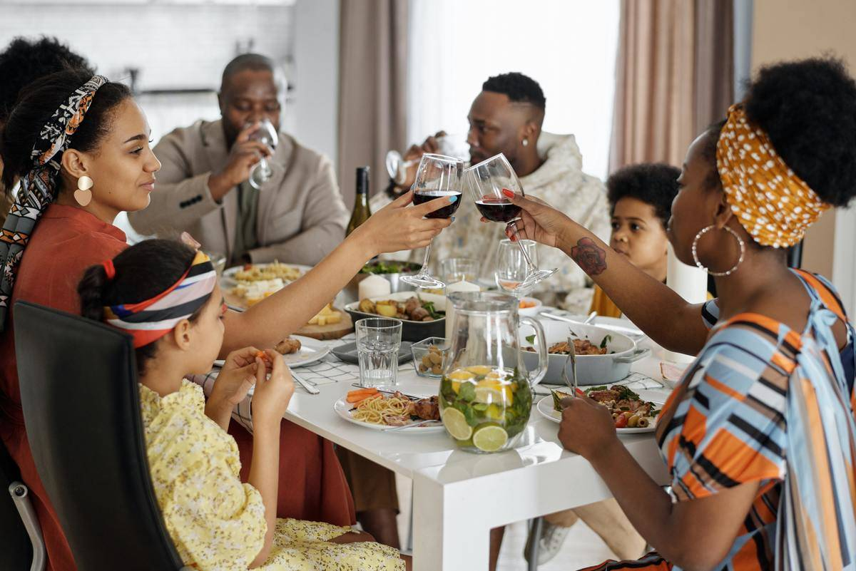 Family sitting around table for a meal