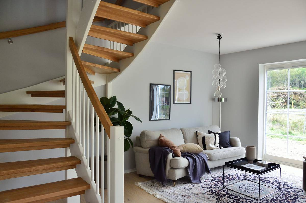 Chic living room and staircase