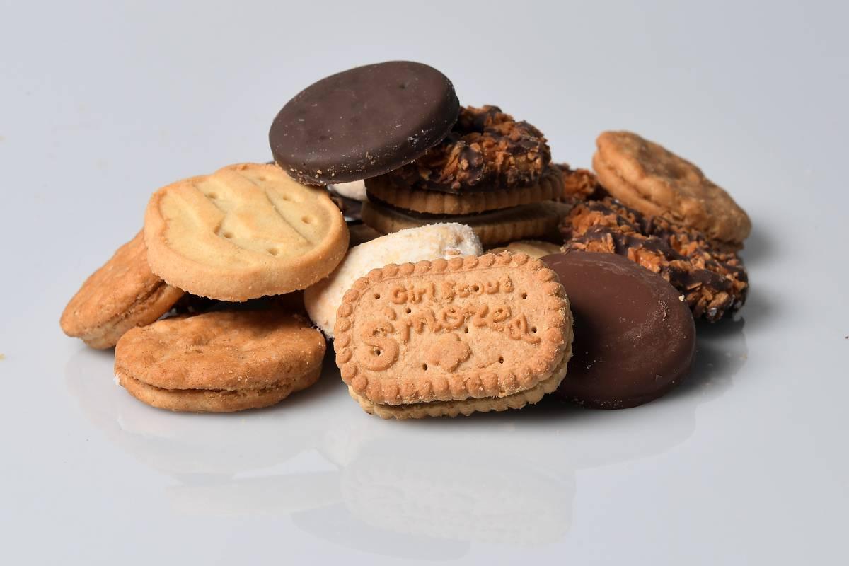arrangement of Girl Scout cookies