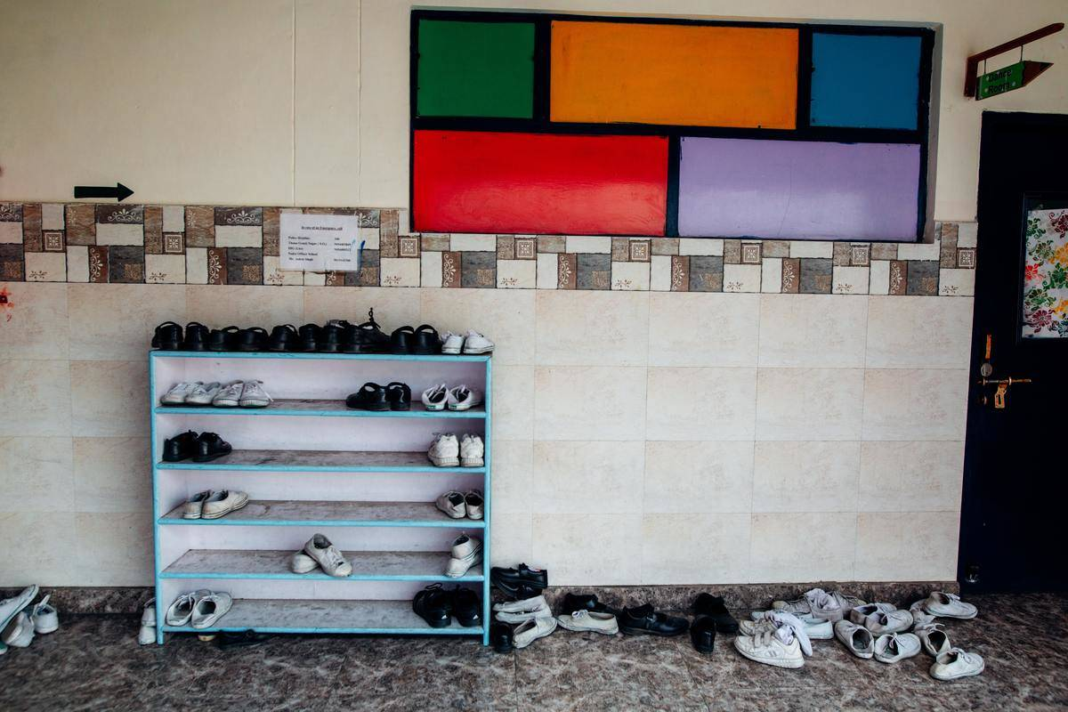 shoes on rack