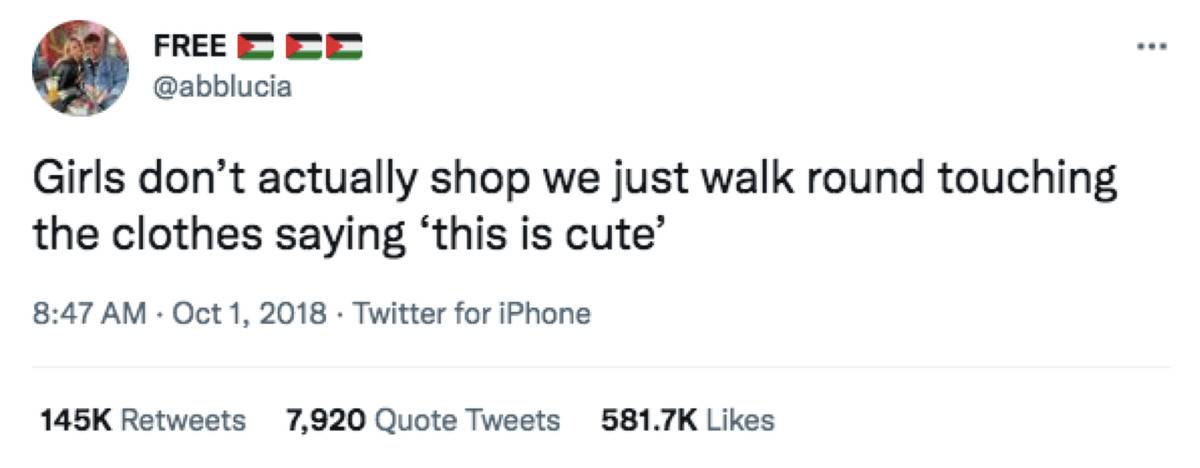 girls walking around touching clothes when shopping saying this is cute