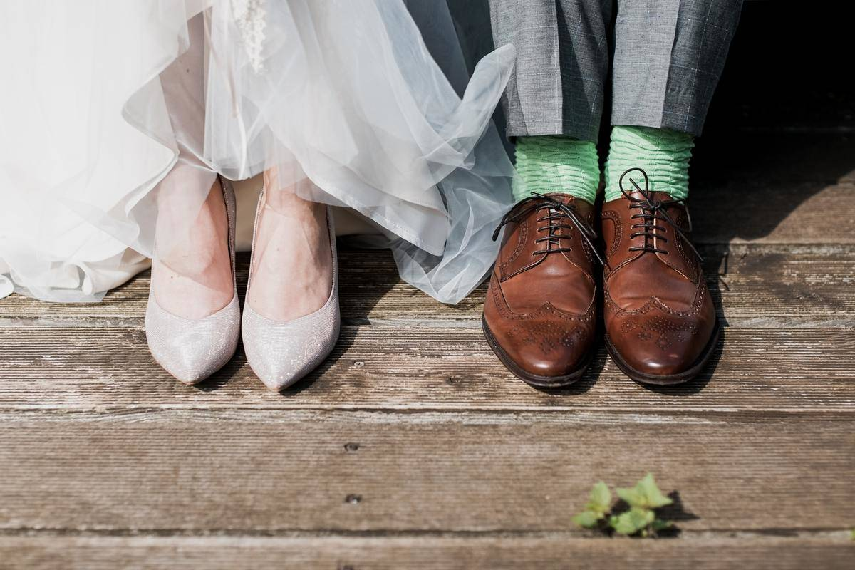 Bride's shoes and groom's shoes