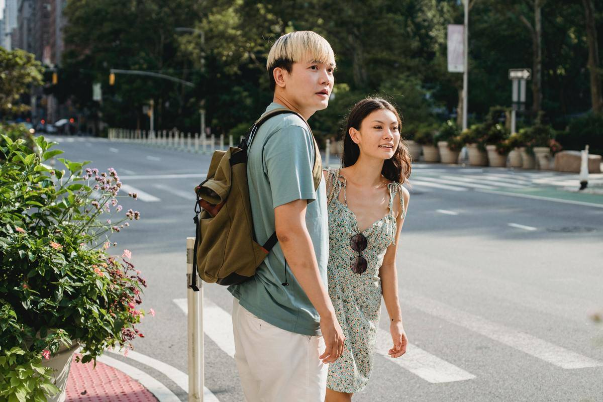 Couple at crosswalk