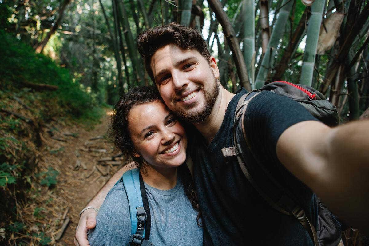 Couple takes selfie on a hike