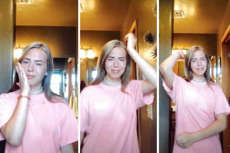 Girl dancing and crying