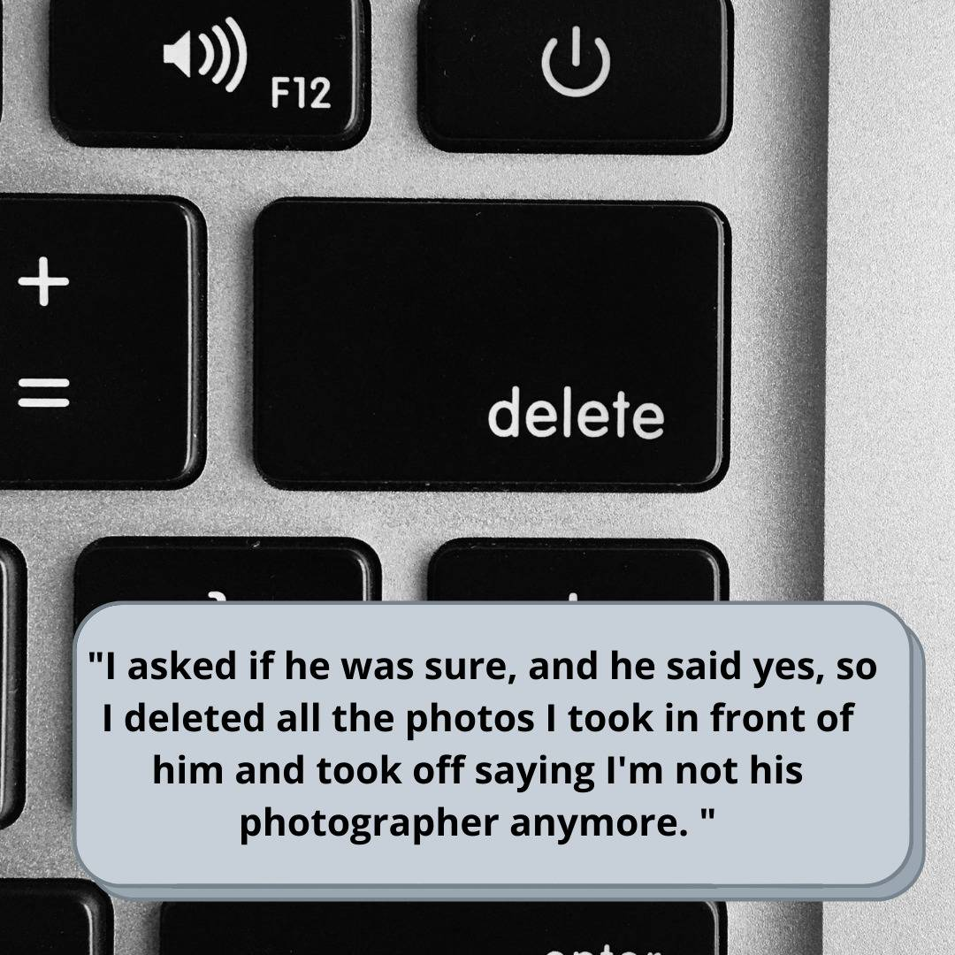 Delete button on the keyboard and text saying that they deleted the pictures.