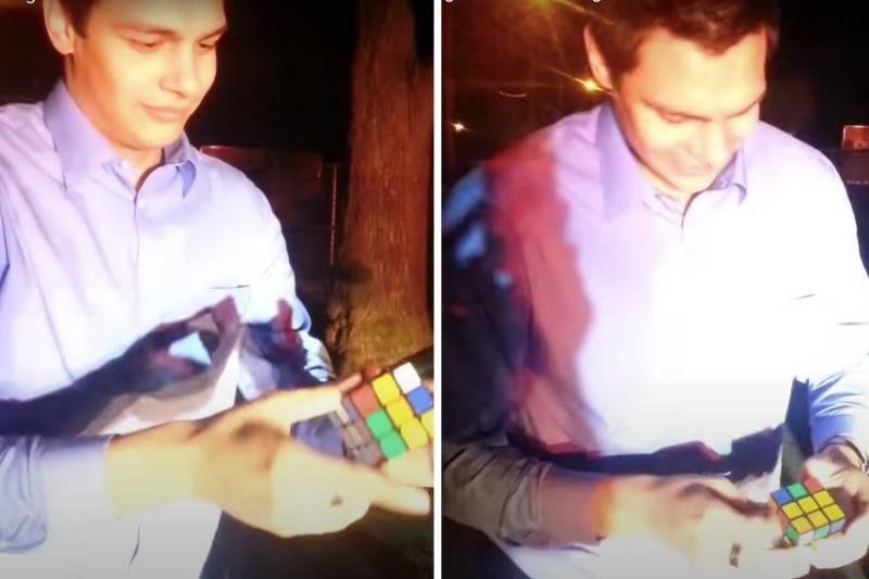Man solves Rubik's cube on video