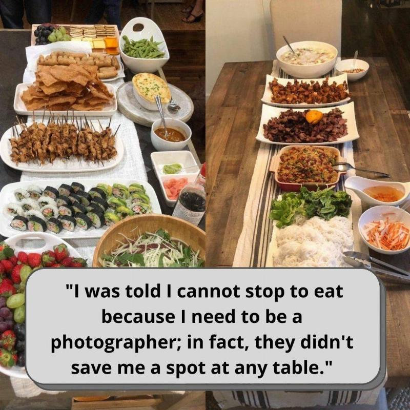 Buffet food with text bubble saying that they were not able to take a break or eat food.
